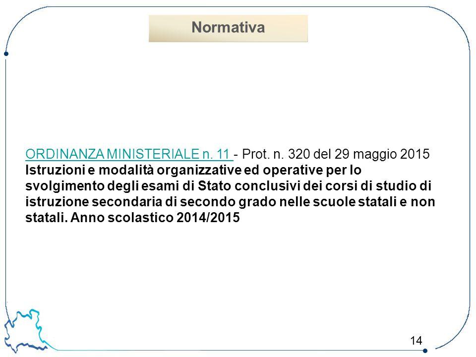 Normativa ORDINANZA MINISTERIALE n. 11 - Prot. n. 320 del 29 maggio 2015.