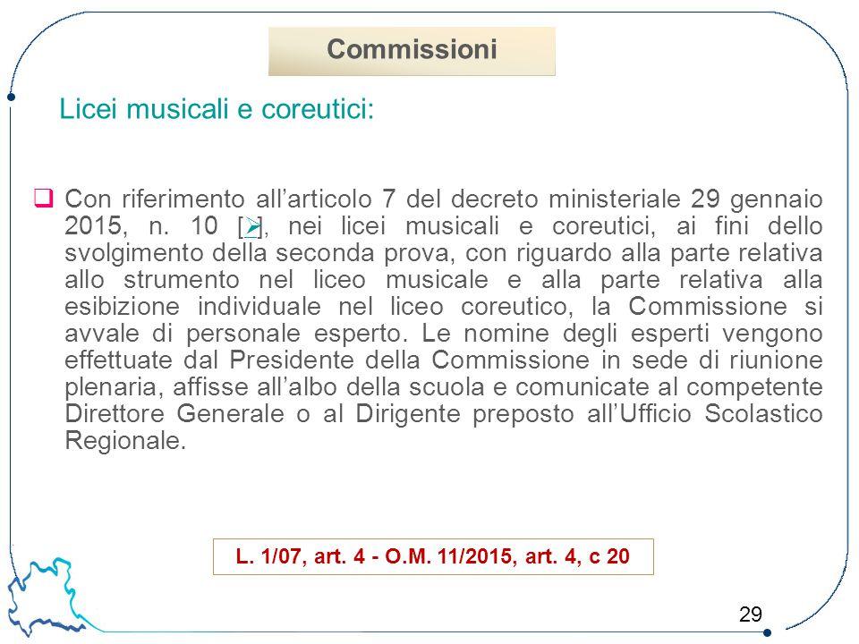 Commissioni Licei musicali e coreutici: