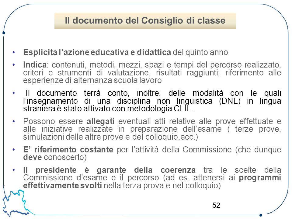Il documento del Consiglio di classe