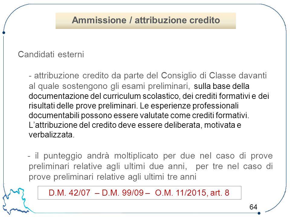 Ammissione / attribuzione credito