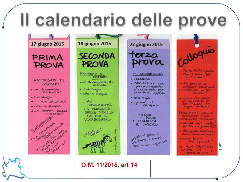 Il calendario delle prove