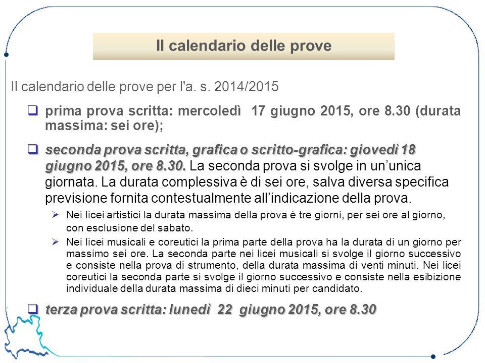 Il calendario delle prove per l a. s. 2014/2015