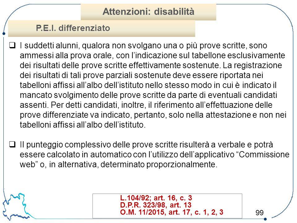 Attenzioni: disabilità