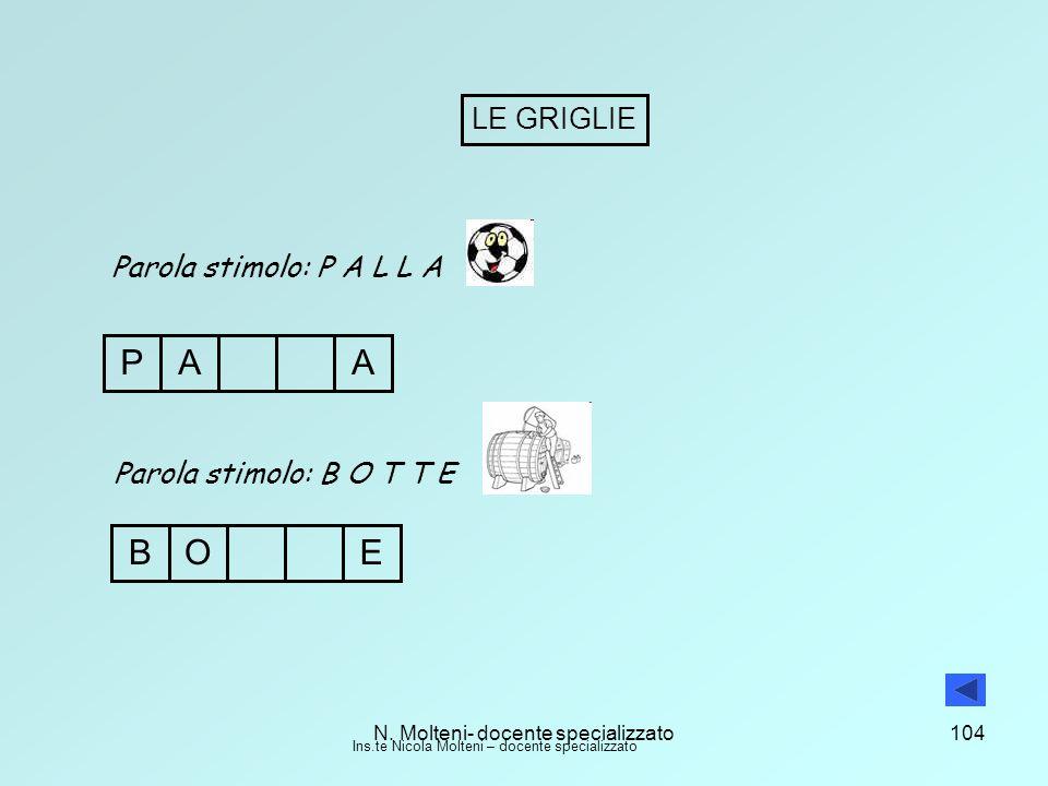 P A A B O E LE GRIGLIE Parola stimolo: P A L L A