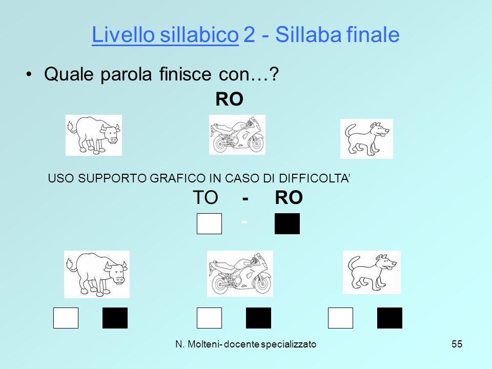 Livello sillabico 2 - Sillaba finale