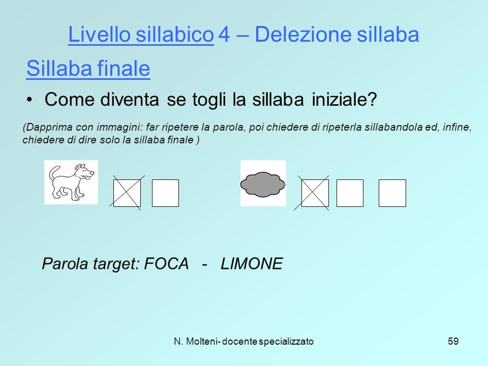 Livello sillabico 4 – Delezione sillaba