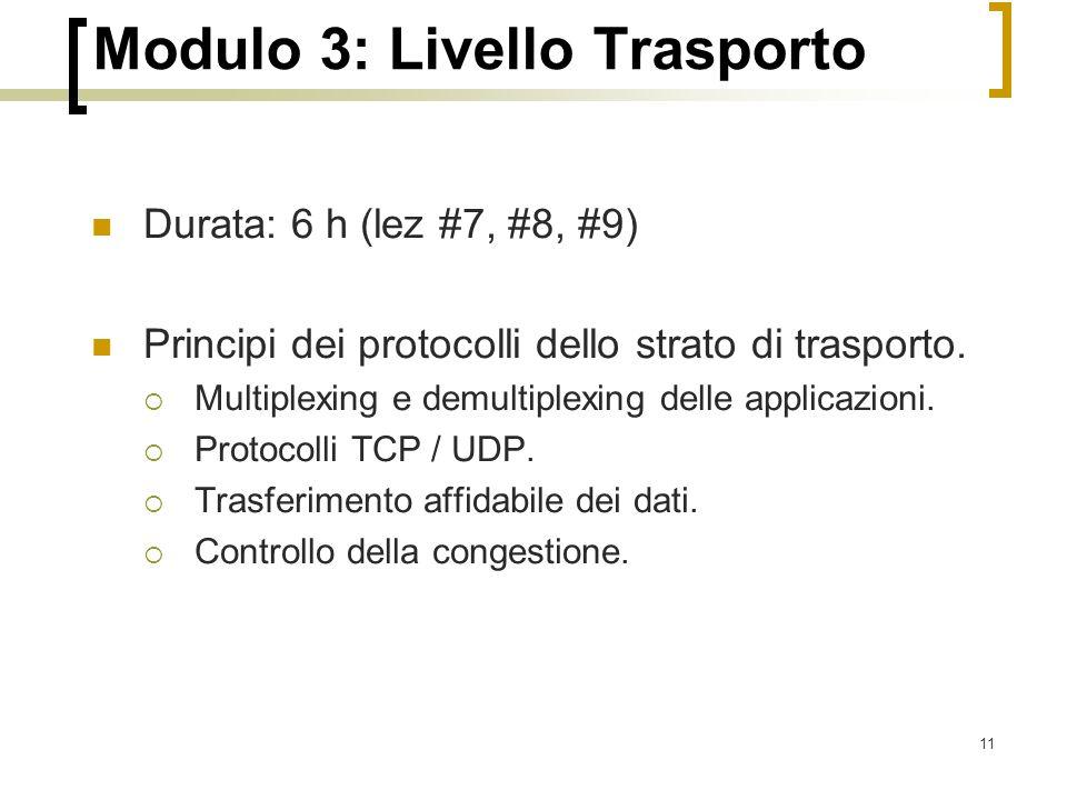 Modulo 3: Livello Trasporto