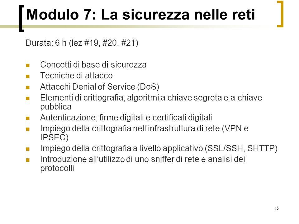 Modulo 7: La sicurezza nelle reti