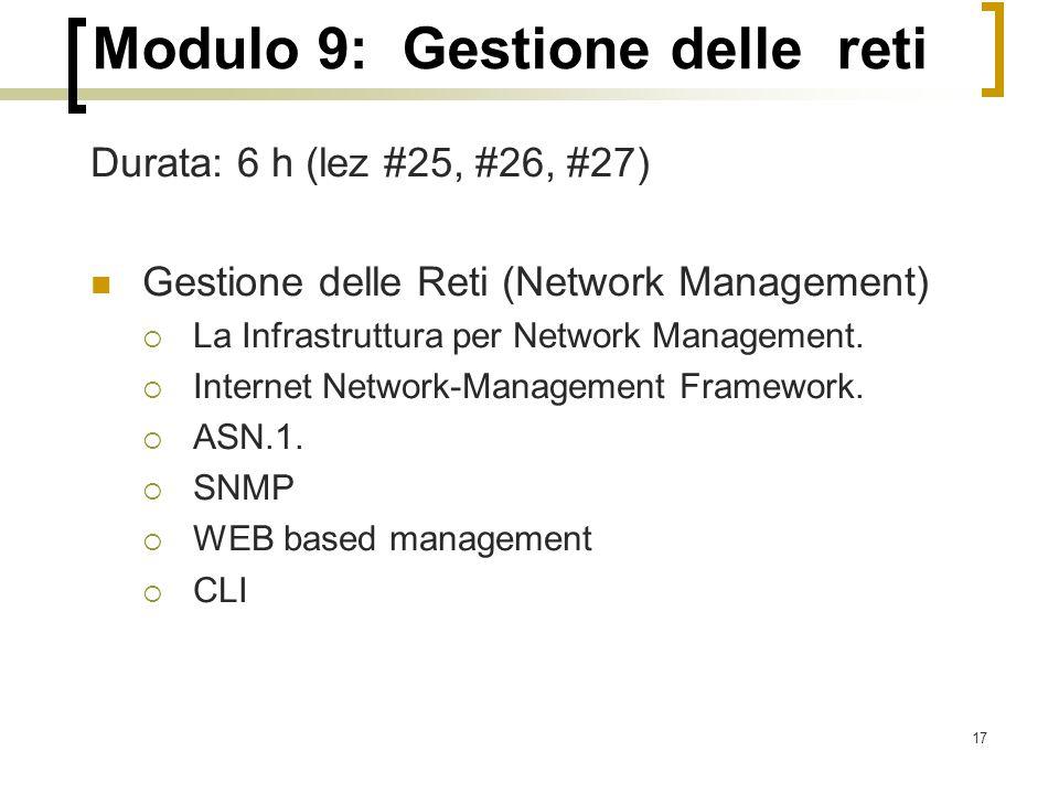 Modulo 9: Gestione delle reti