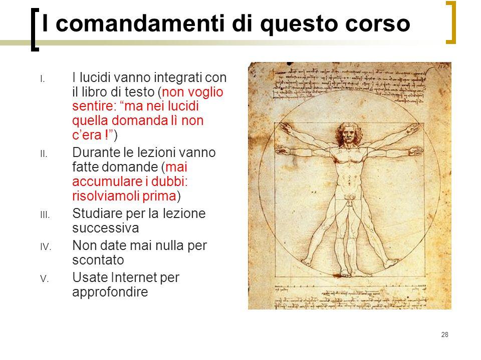 I comandamenti di questo corso