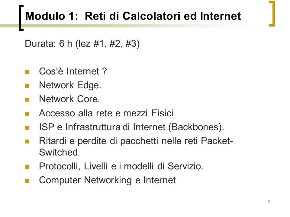 Modulo 1: Reti di Calcolatori ed Internet