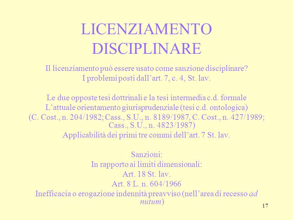 LICENZIAMENTO DISCIPLINARE