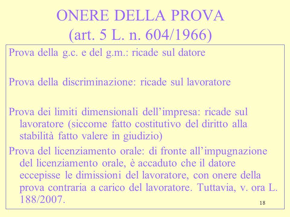 ONERE DELLA PROVA (art. 5 L. n. 604/1966)