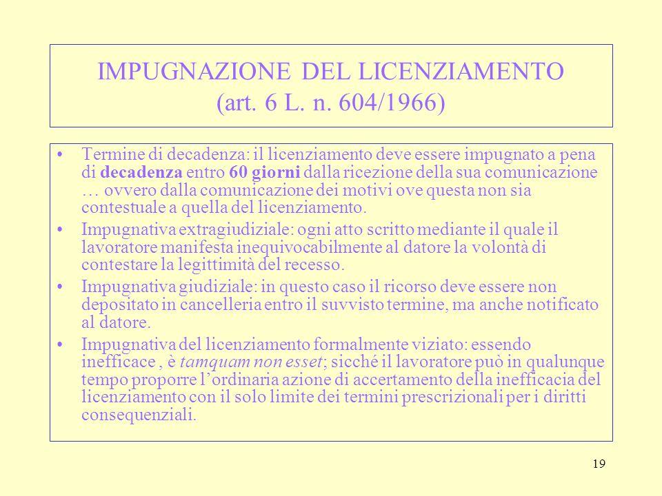 IMPUGNAZIONE DEL LICENZIAMENTO (art. 6 L. n. 604/1966)