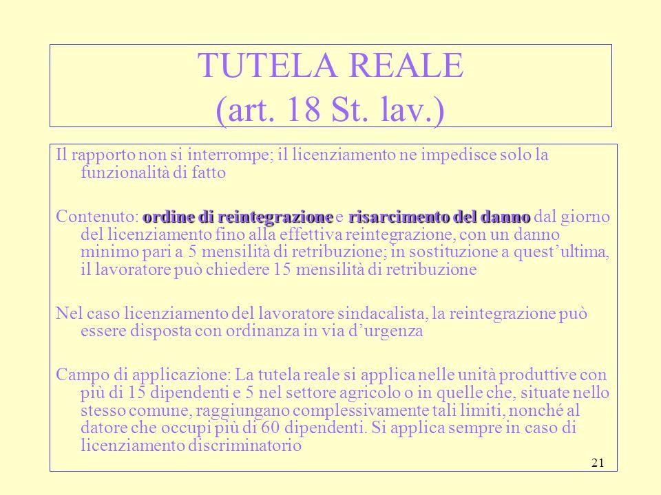 TUTELA REALE (art. 18 St. lav.)