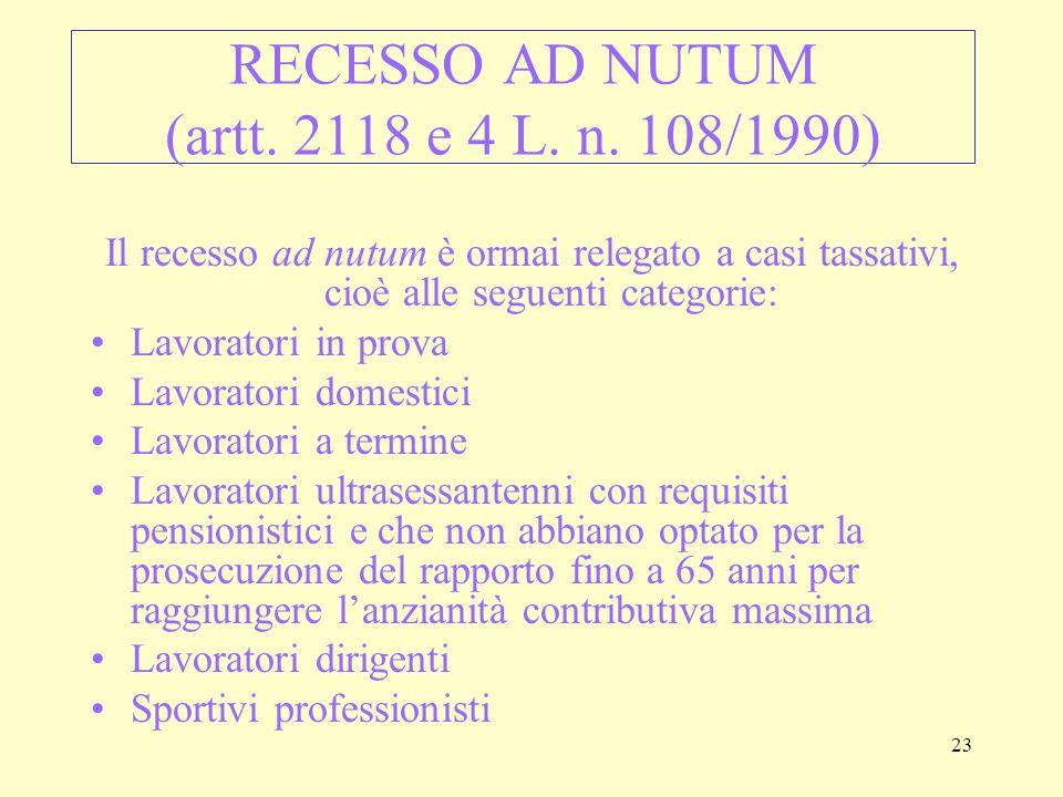 RECESSO AD NUTUM (artt. 2118 e 4 L. n. 108/1990)
