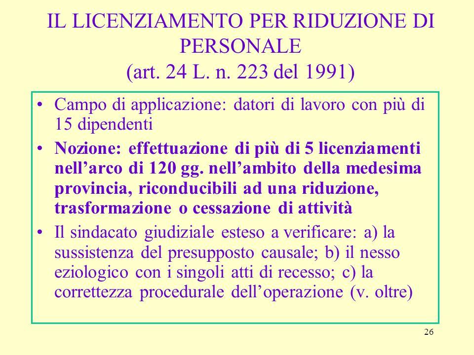 IL LICENZIAMENTO PER RIDUZIONE DI PERSONALE (art. 24 L. n