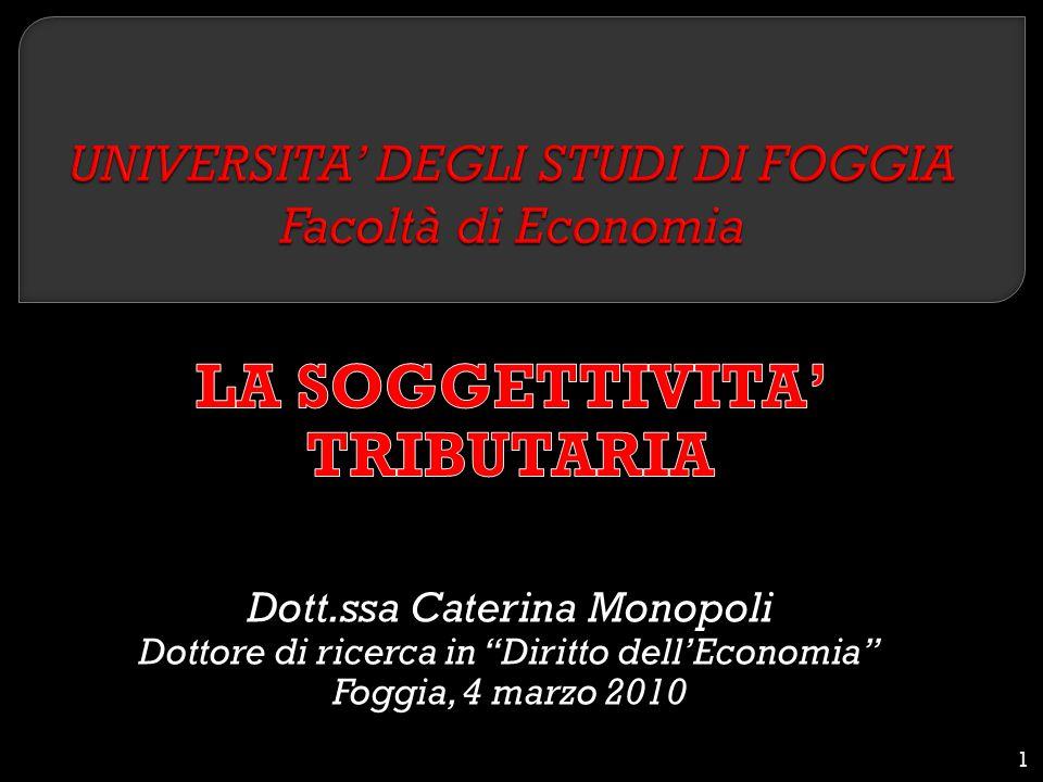 UNIVERSITA' DEGLI STUDI DI FOGGIA Facoltà di Economia