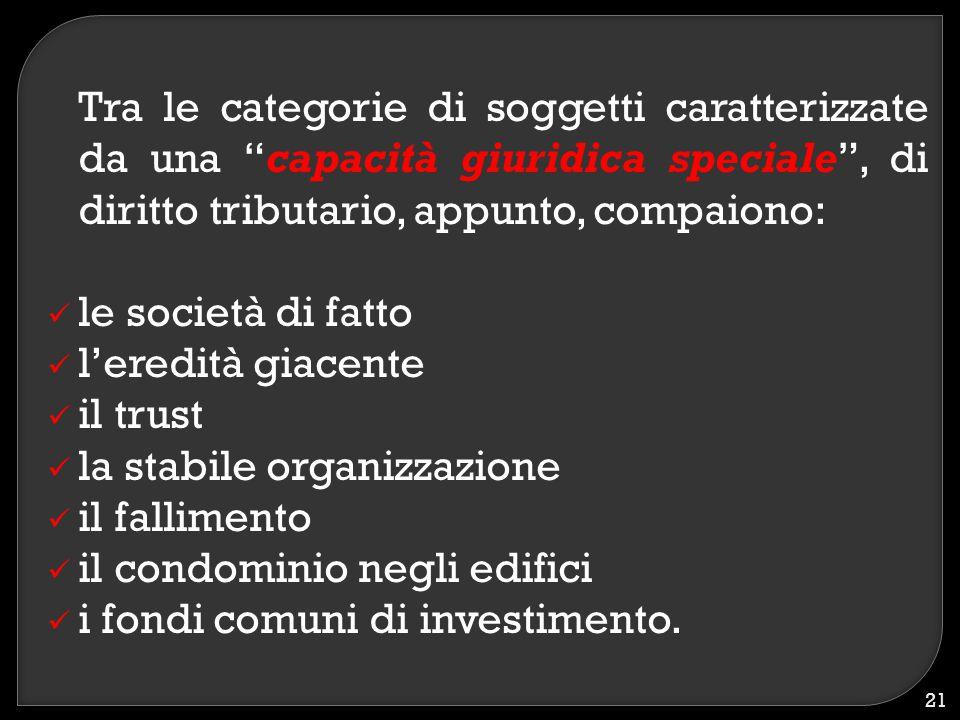 Tra le categorie di soggetti caratterizzate da una capacità giuridica speciale , di diritto tributario, appunto, compaiono: