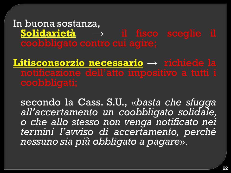 In buona sostanza, Solidarietà → il fisco sceglie il coobbligato contro cui agire;