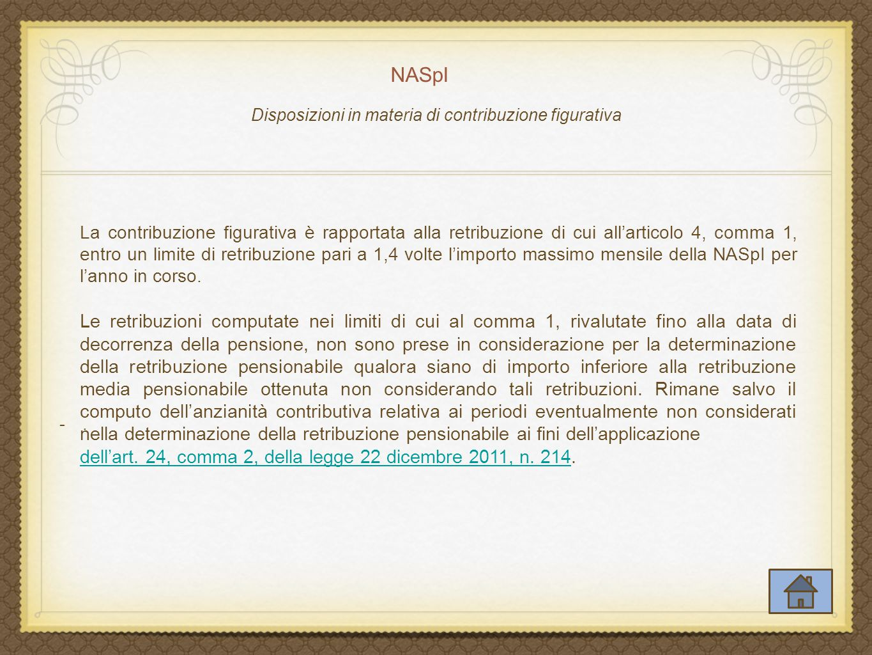 Disposizioni in materia di contribuzione figurativa