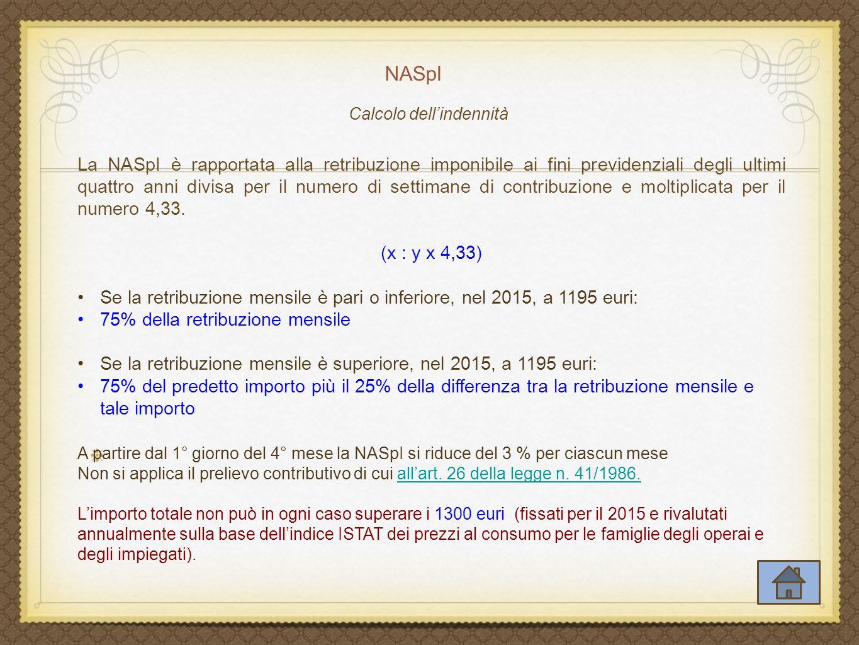 Calcolo dell'indennità