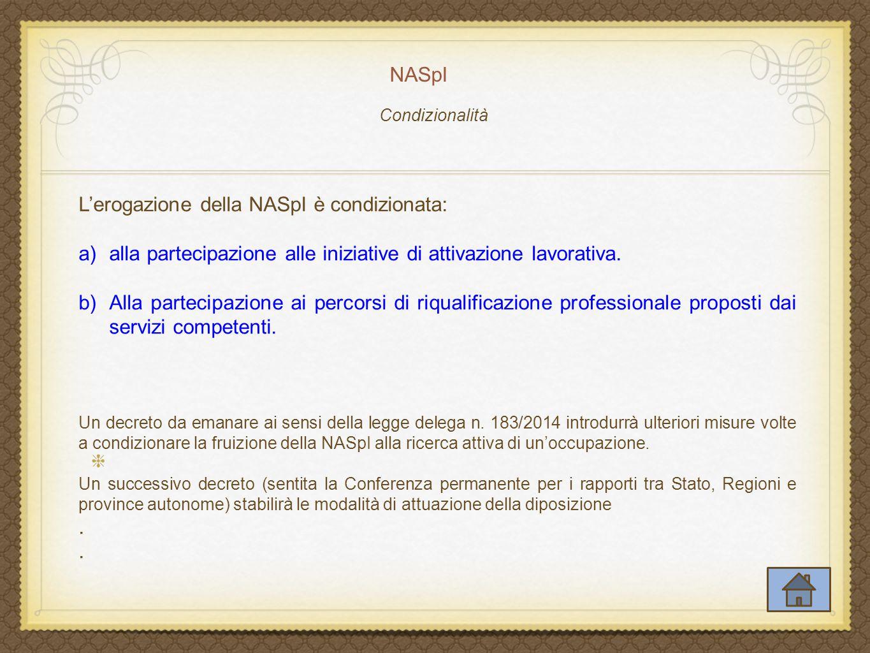 L'erogazione della NASpI è condizionata: