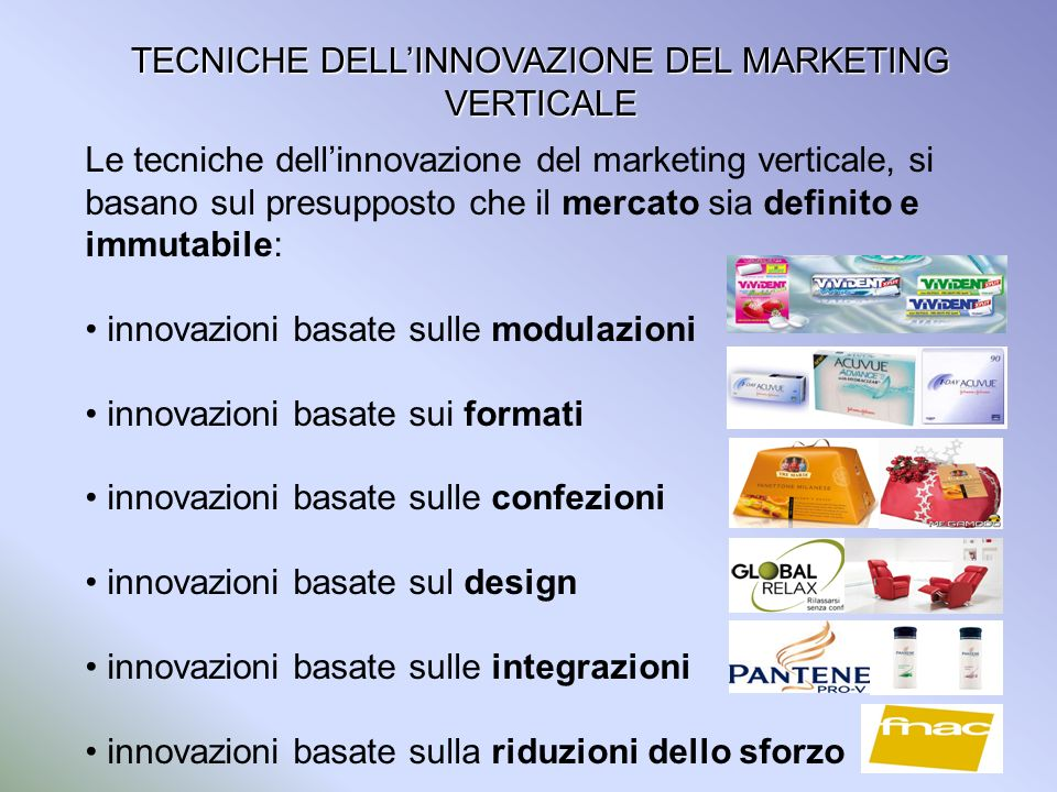 TECNICHE DELL'INNOVAZIONE DEL MARKETING VERTICALE
