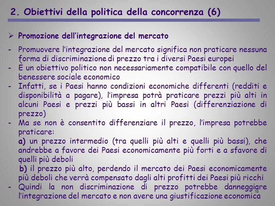 2. Obiettivi della politica della concorrenza (6)