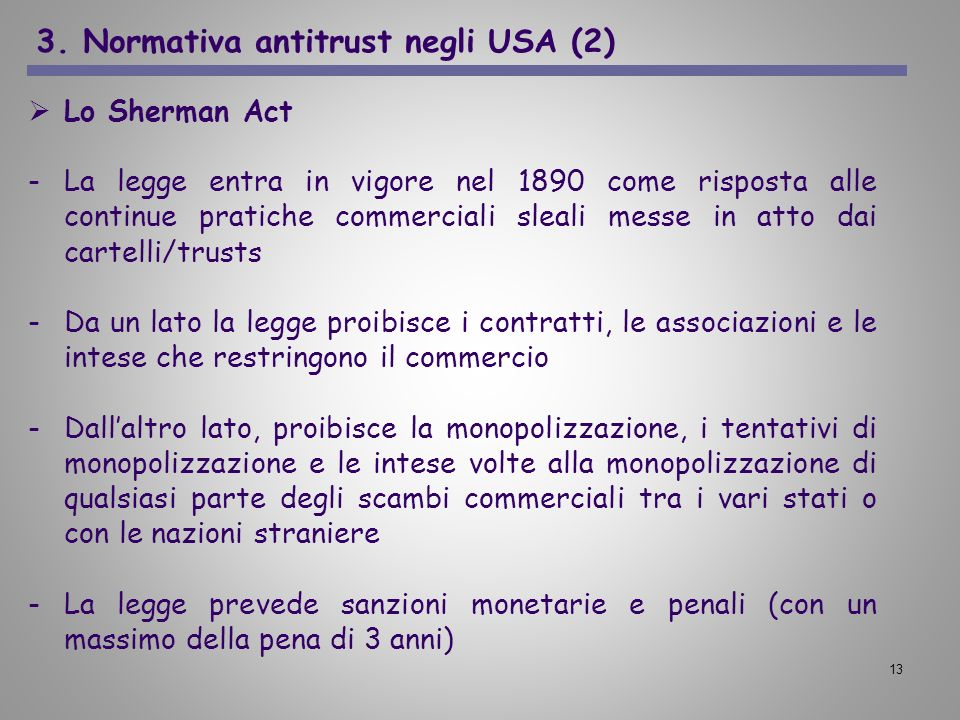 3. Normativa antitrust negli USA (2)