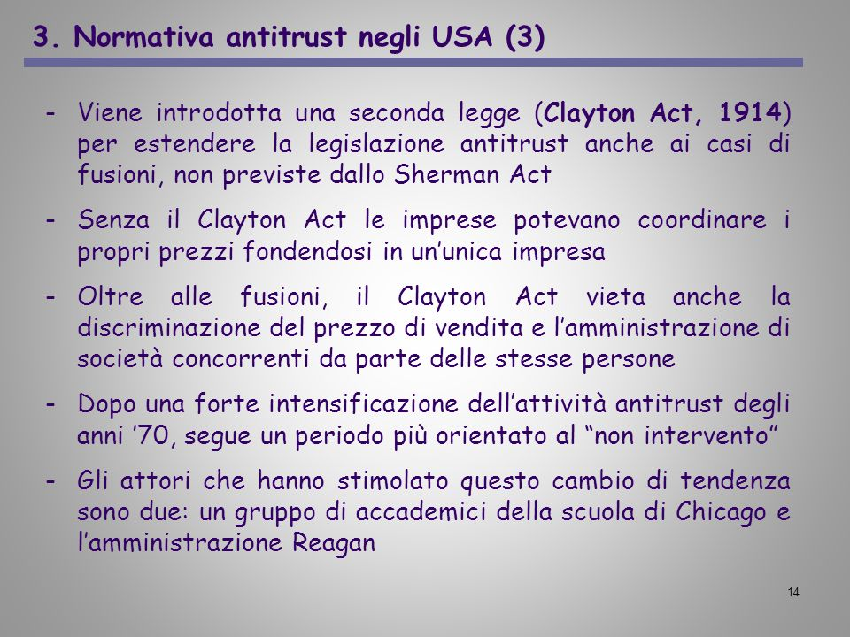 3. Normativa antitrust negli USA (3)