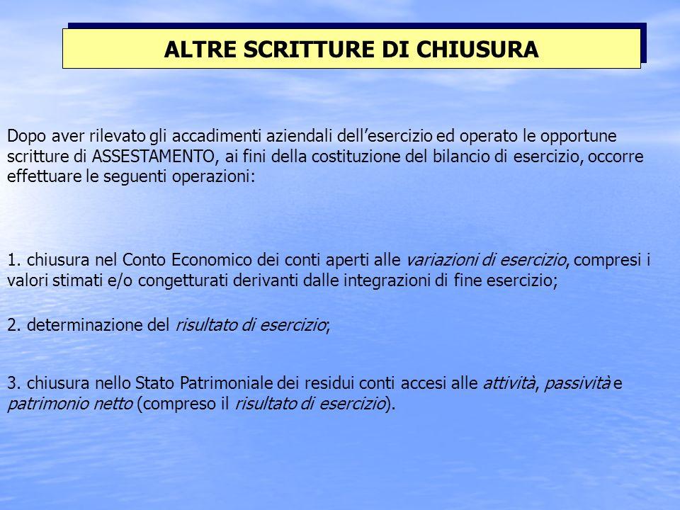 ALTRE SCRITTURE DI CHIUSURA