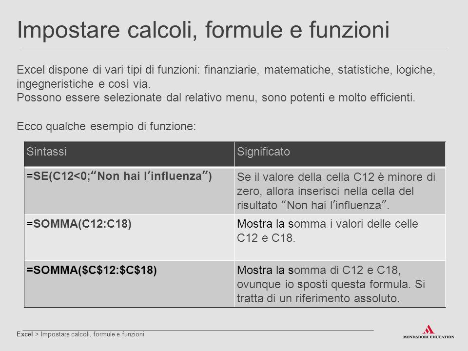 Impostare calcoli, formule e funzioni