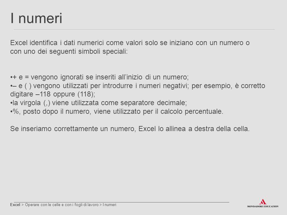 I numeri Excel identifica i dati numerici come valori solo se iniziano con un numero o. con uno dei seguenti simboli speciali: