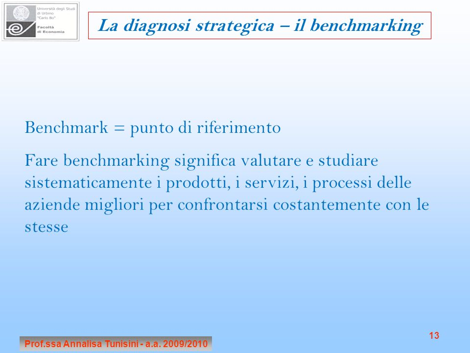 La diagnosi strategica – il benchmarking
