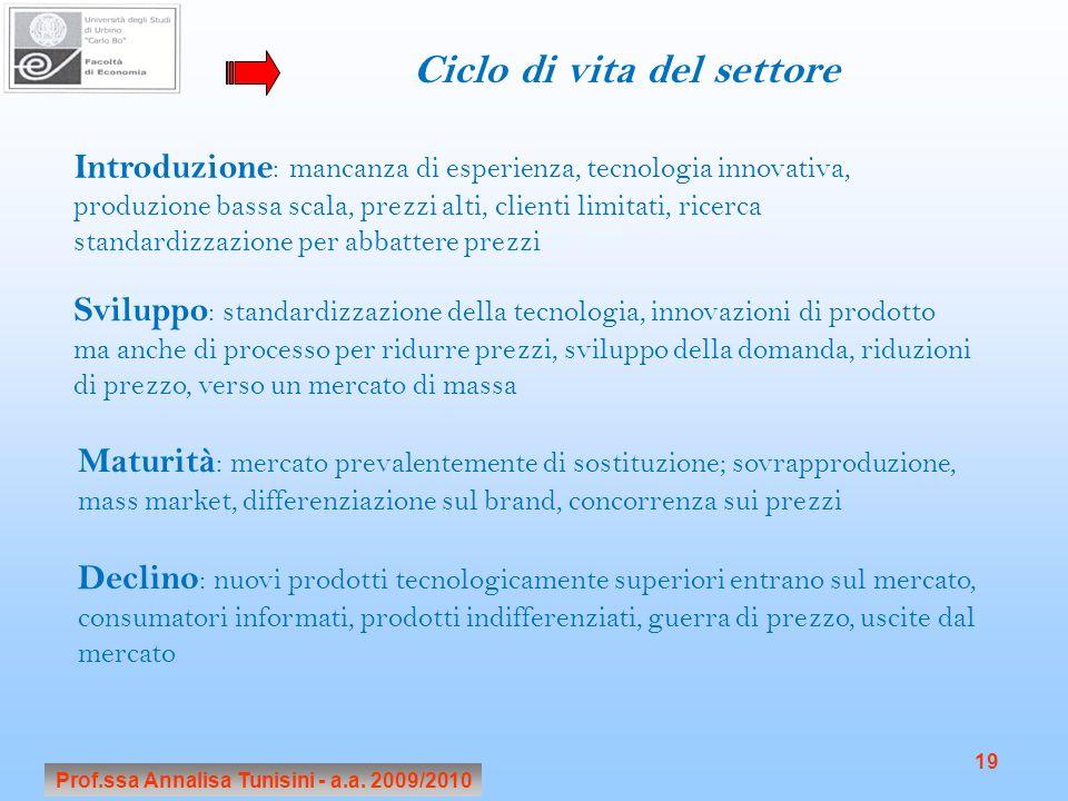 Ciclo di vita del settore Prof.ssa Annalisa Tunisini - a.a. 2009/2010