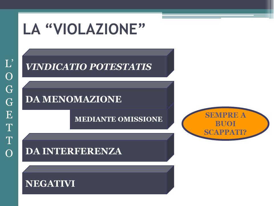 LA VIOLAZIONE L' OG G E T O VINDICATIO POTESTATIS DA MENOMAZIONE