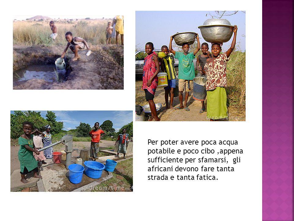 Per poter avere poca acqua potabile e poco cibo ,appena sufficiente per sfamarsi, gli africani devono fare tanta strada e tanta fatica.