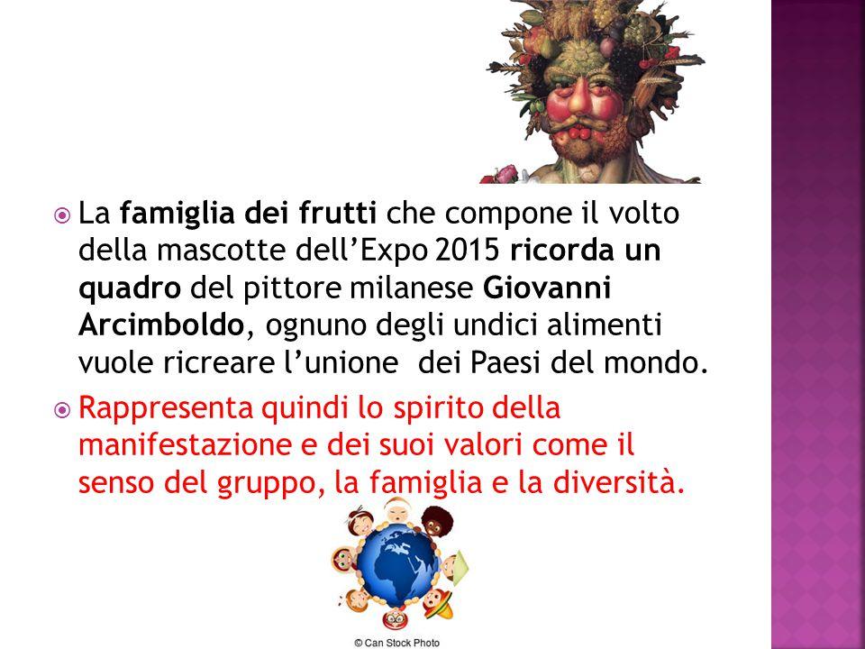 La famiglia dei frutti che compone il volto della mascotte dell'Expo 2015 ricorda un quadro del pittore milanese Giovanni Arcimboldo, ognuno degli undici alimenti vuole ricreare l'unione dei Paesi del mondo.