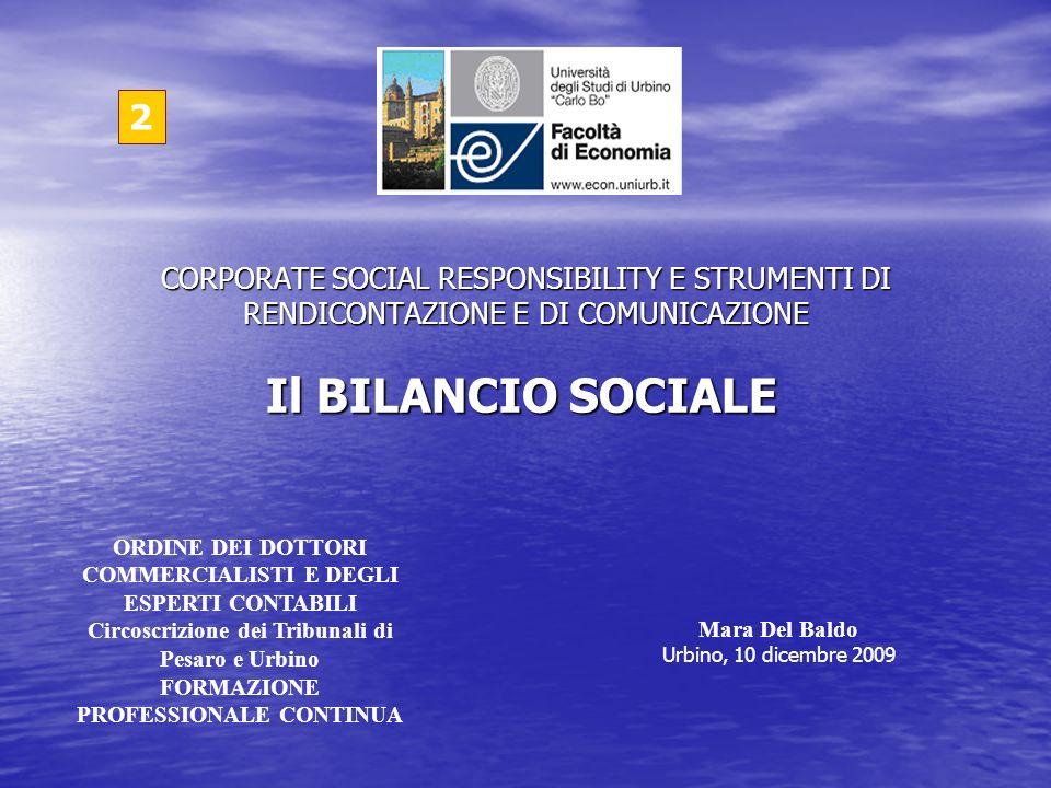 2CORPORATE SOCIAL RESPONSIBILITY E STRUMENTI DI RENDICONTAZIONE E DI COMUNICAZIONE. Il BILANCIO SOCIALE.