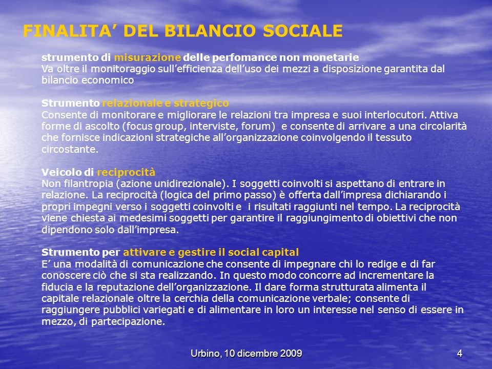 FINALITA' DEL BILANCIO SOCIALE