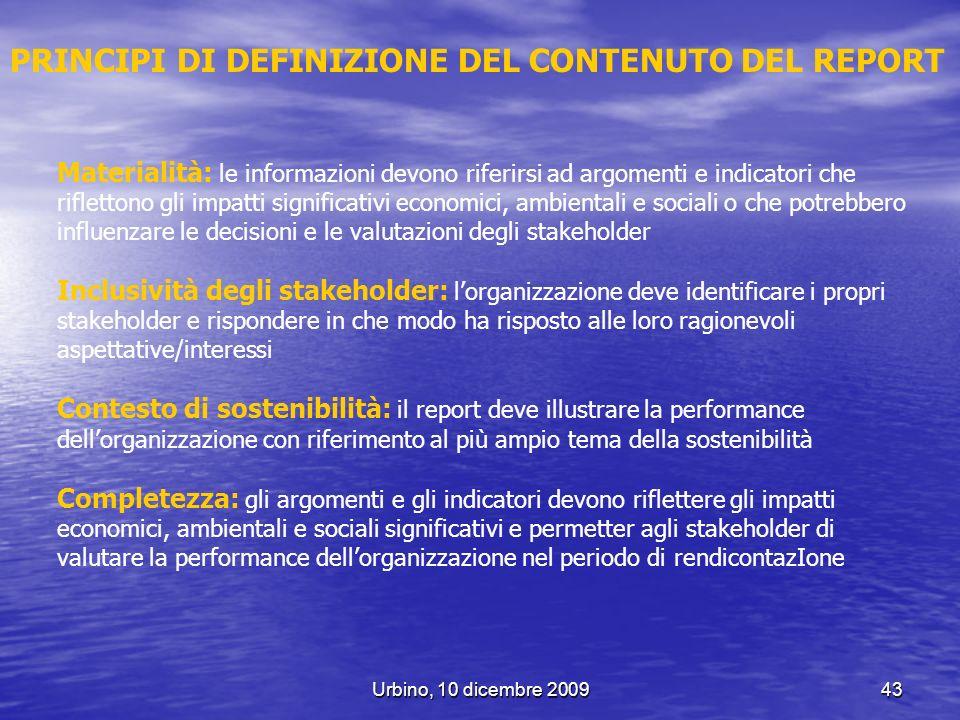 PRINCIPI DI DEFINIZIONE DEL CONTENUTO DEL REPORT
