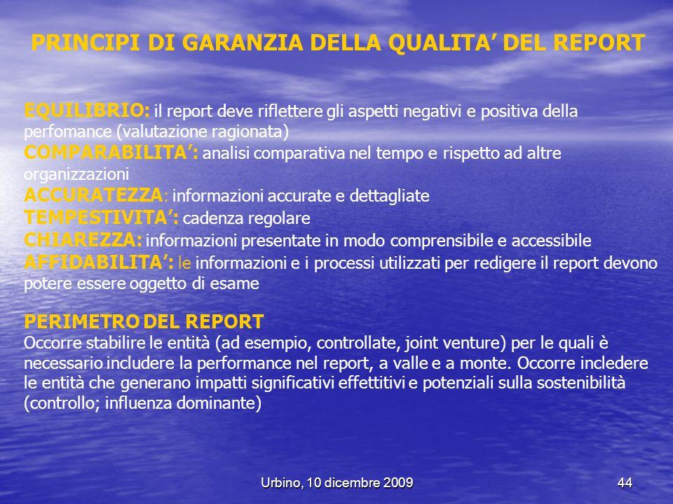 PRINCIPI DI GARANZIA DELLA QUALITA' DEL REPORT