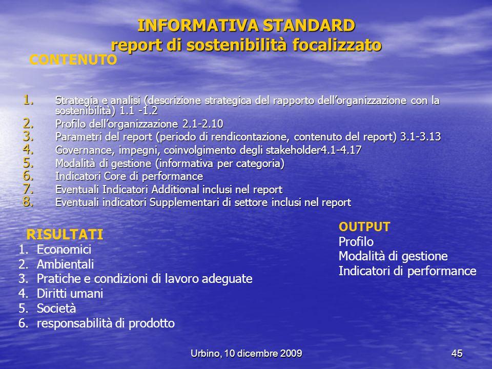 INFORMATIVA STANDARD report di sostenibilità focalizzato