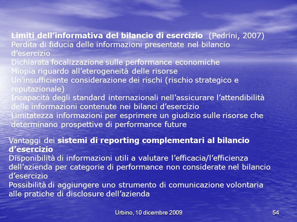 Limiti dell'informativa del bilancio di esercizio (Pedrini, 2007)