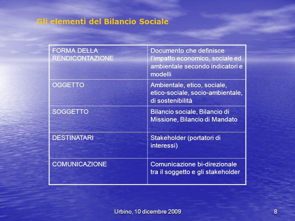 Gli elementi del Bilancio Sociale