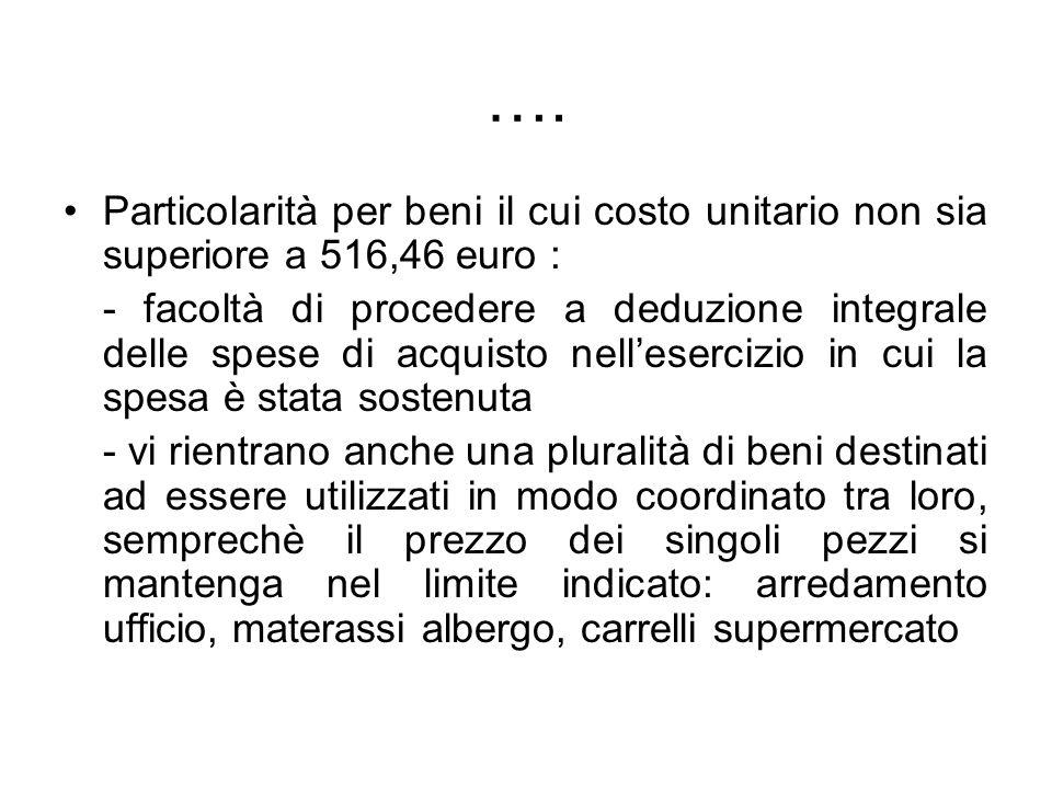 …. Particolarità per beni il cui costo unitario non sia superiore a 516,46 euro :