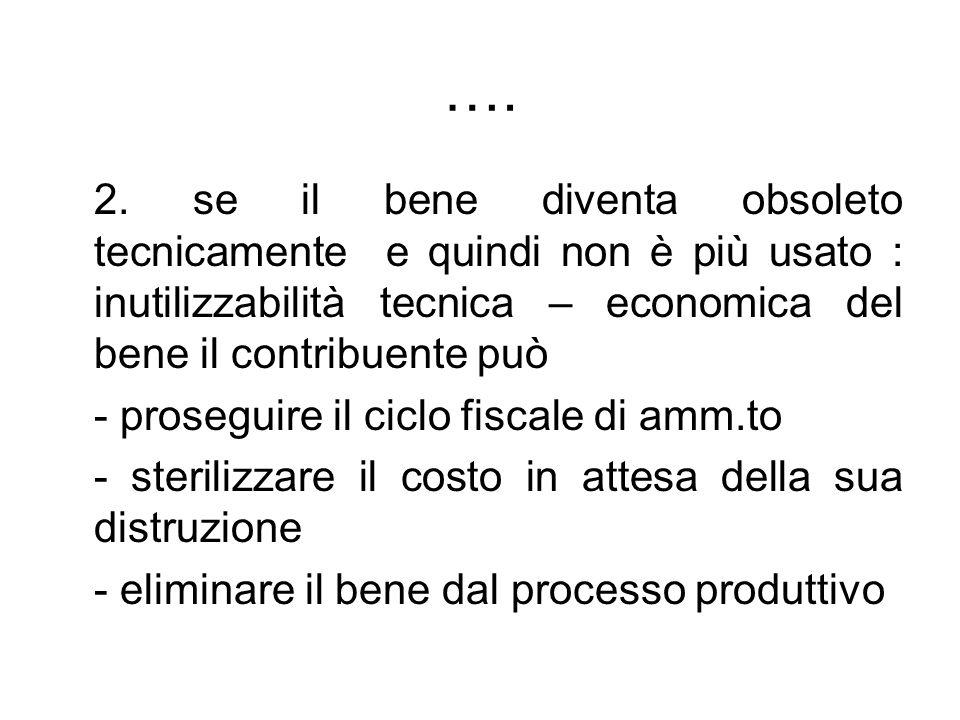 …. 2. se il bene diventa obsoleto tecnicamente e quindi non è più usato : inutilizzabilità tecnica – economica del bene il contribuente può.