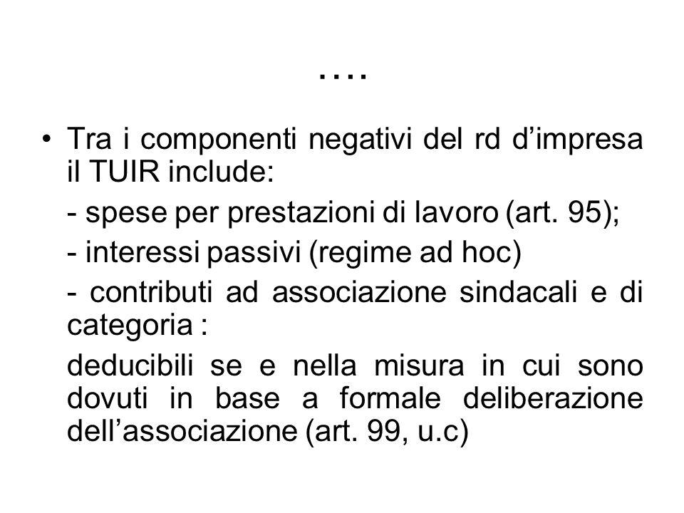 …. Tra i componenti negativi del rd d'impresa il TUIR include: