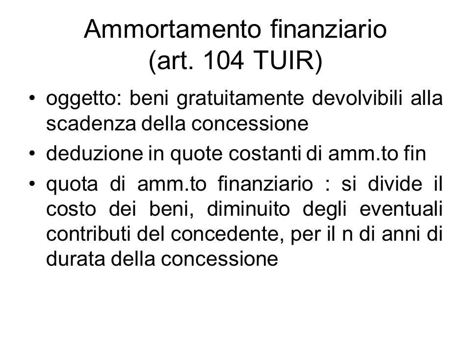 Ammortamento finanziario (art. 104 TUIR)